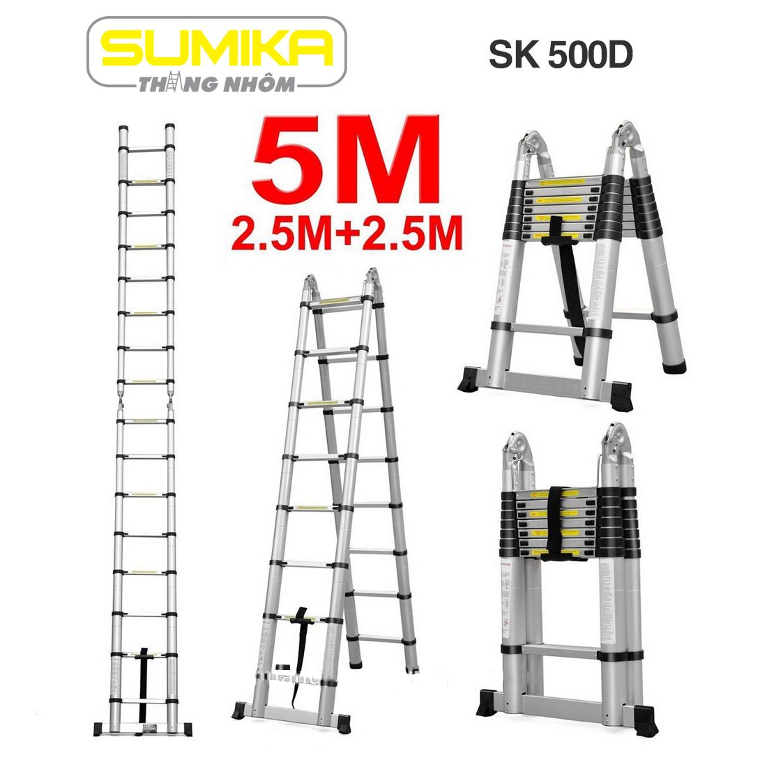 Thang nhôm rút đôi đai nhựa 5m Sumika SK 500D