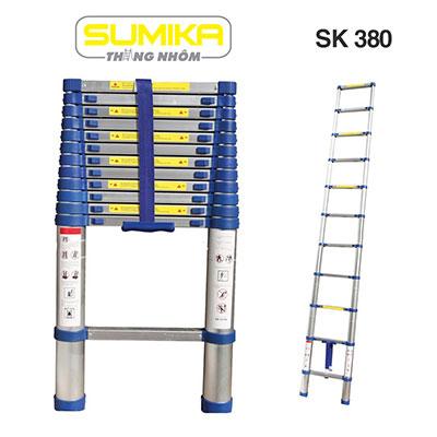 Thang nhôm rút đơn đai nhựa 3.8m Sumika SK 380