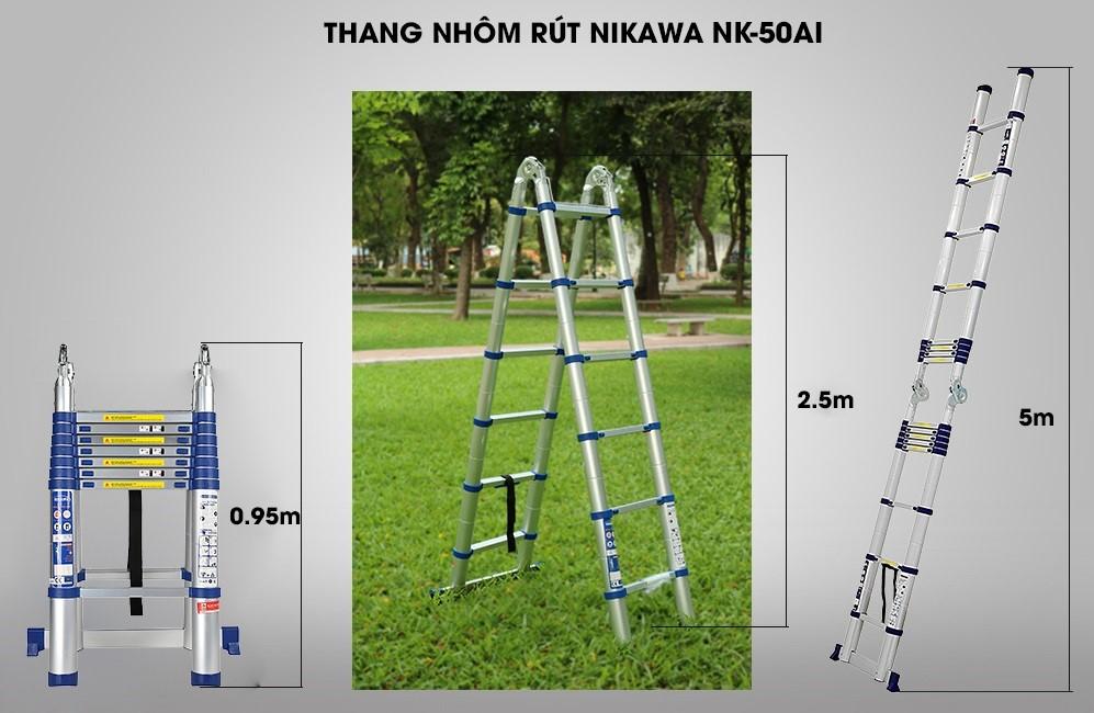 thang nhôm rút chữ A Nikawa NK-50AI