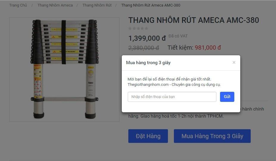 Bạn có thể nhấn chọn nút mua hàng trong 3 giây, sau đó nhập số điện thoại để nhận giá tốt nhất